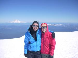 The bliss of the summit - Morgan and Holly, Mt Adams, June 2015